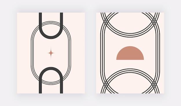 Stampe murali di metà secolo con forme geometriche