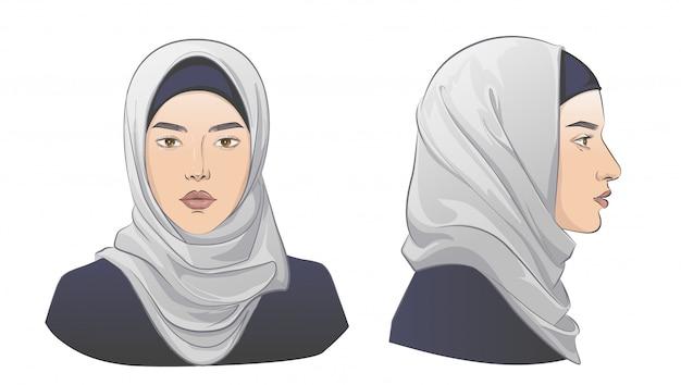 Donna araba mediorientale. illustrazione di schizzo di linea.