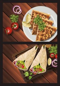 Cibo mediorientale nell'illustrazione di legno della tavola