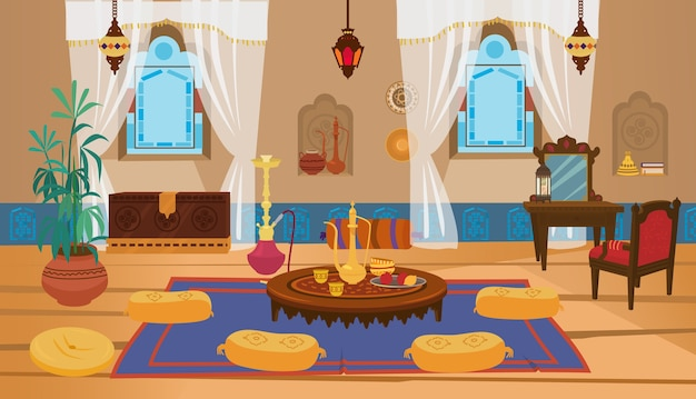 Interiore del salone mediorientale con mobili in legno ed elementi decorativi.