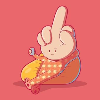 Personaggio del dito medio divertente