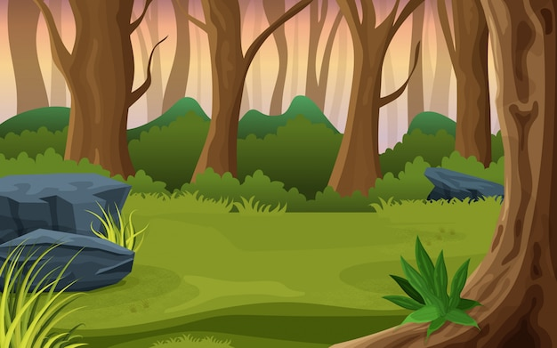 Mezzo di un'illustrazione della natura della foresta