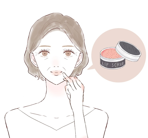 Donna di mezza età che si prende cura delle labbra con uno scrub per labbra. su uno sfondo bianco.
