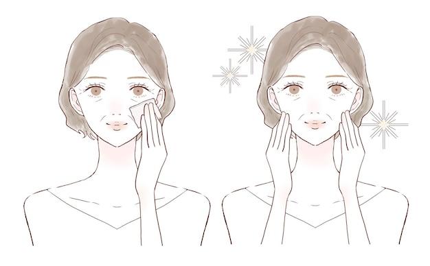 Una donna di mezza età prima e dopo l'assunzione di sebo facciale con carta aburabi. su uno sfondo bianco.