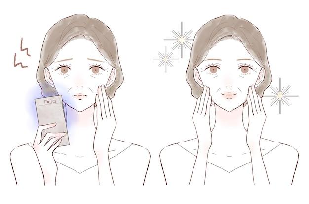 Una donna di mezza età che soffre di affaticamento degli occhi e perdita della vista a causa della luce blu sul suo smartphone. prima e dopo. su uno sfondo bianco.