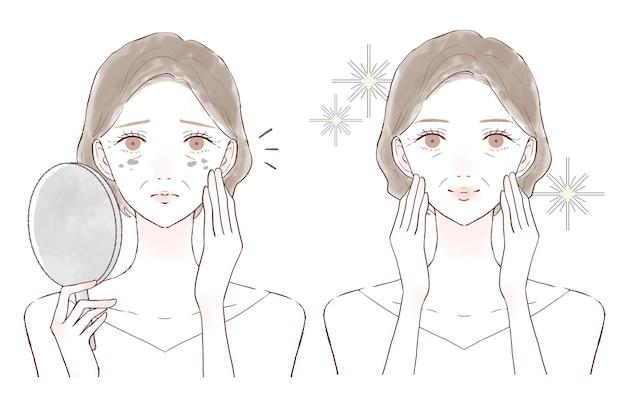 Donna di mezza età che si preoccupa delle macchie. prima e dopo.su uno sfondo bianco.