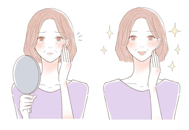 Donna di mezza età che si preoccupa delle rughe. prima e dopo.su uno sfondo bianco.