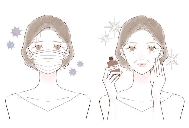 Donna di mezza età con supplemento (tipo in bottiglia). prima e dopo. su uno sfondo bianco.
