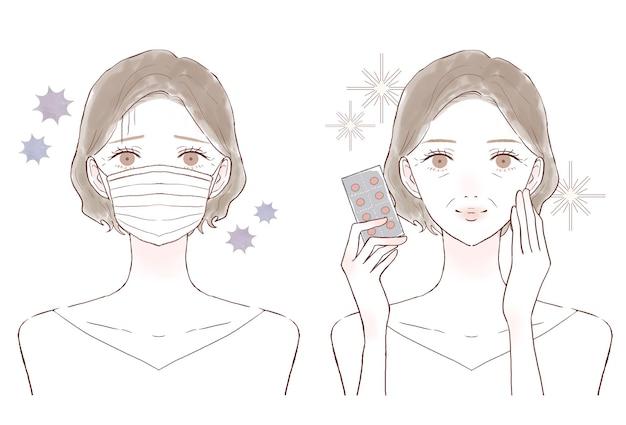 Donna di mezza età con integratore tipo tablet. prima e dopo. su uno sfondo bianco.