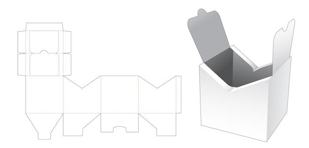 Modello fustellato per imballaggio con cerniera centrale