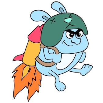 Mostri nani che volano usando razzi sul retro verso lo spazio. arte dell'illustrazione, immagine dell'icona di doodle kawaii.