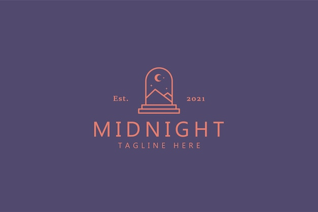 Logo di concetto di illustrazione astratta di mezzanotte