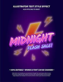 L'effetto di stile di testo modificabile del poster di vendita flash di mezzanotte con parole e font può essere modificato include il simbolo flash come opera d'arte bonus