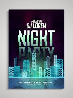 Tema del partito di ballo di notte della festa di mezzanotte, festa del partito di ballo, bandiera del partito di notte o presentazione dell'invito del locale con i dati di data e luogo.