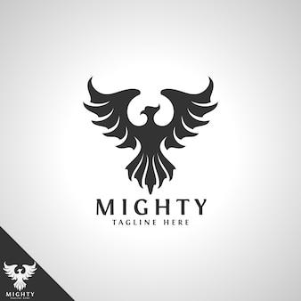 Modello di logo di uccello potente