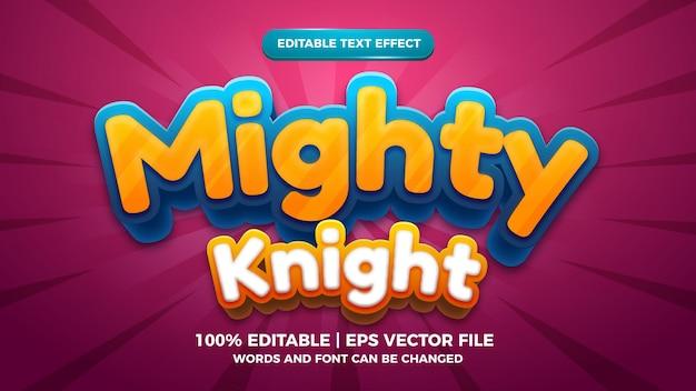 Mighty knight 3d effetto testo modificabile in stile fumetto gioco comico