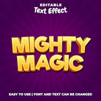Mighty magic gioco logo stile effetto testo
