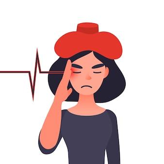 Concetto di mal di testa malato di emicrania o cronico