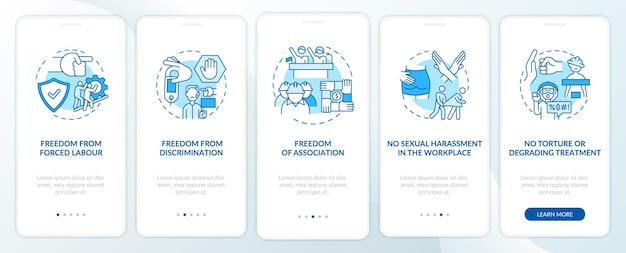 Schermata blu della pagina dell'app per dispositivi mobili di onboarding dei lavoratori migranti libertà