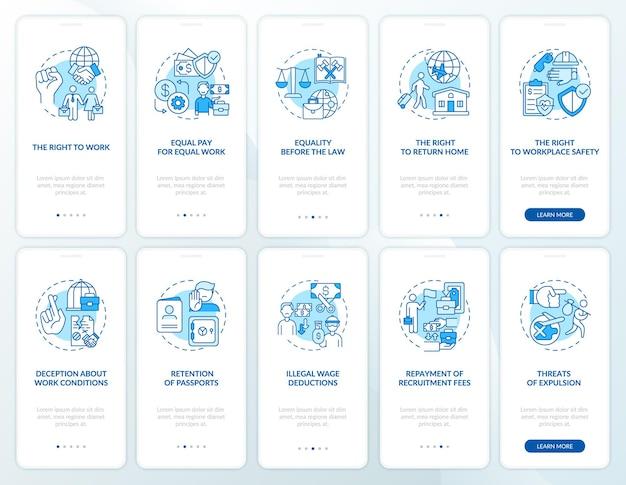 Set di schermate della pagina dell'app mobile di onboarding blu dei diritti dei lavoratori migranti