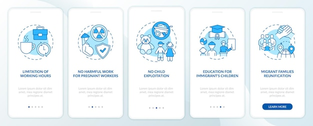 Schermata blu della pagina dell'app per dispositivi mobili di onboarding dei diritti dei lavoratori migranti