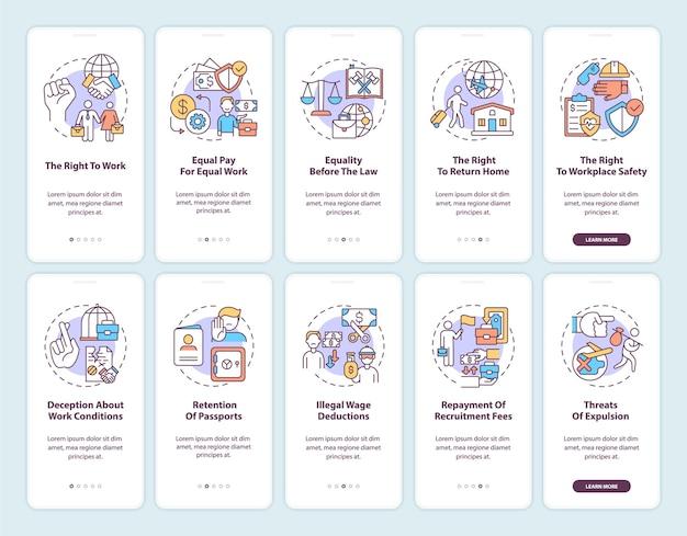 Schermata della pagina dell'app mobile di onboarding dei diritti dei lavoratori migranti con set di concetti. procedura dettagliata per l'immigrazione 5 passaggi istruzioni grafiche.