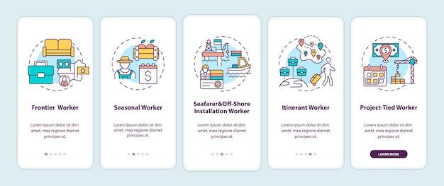 Tipi di lavoratori migranti che accedono alla schermata della pagina dell'app mobile con concetti. procedura dettagliata per gli immigrati 5 passaggi con istruzioni grafiche.