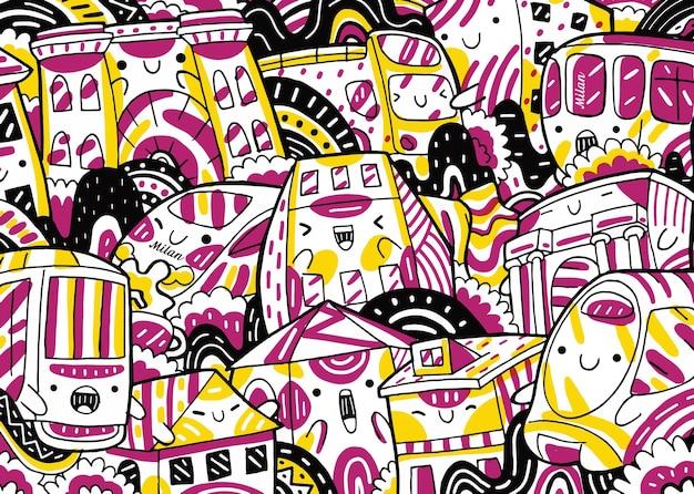 Doodle del paesaggio urbano di milano in stile design piatto
