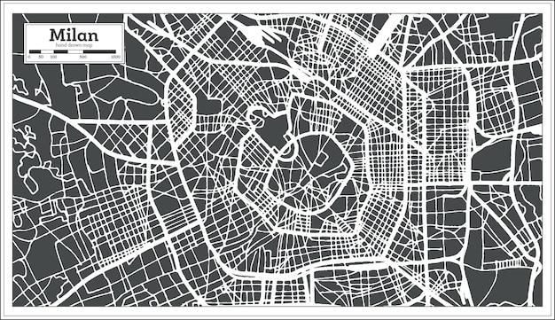 Mappa della città di milano italia in stile retrò. mappa di contorno. illustrazione di vettore.