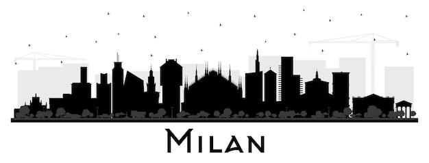 Milano italia skyline della città silhouette con edifici di colore isolato su bianco. illustrazione di vettore. viaggi d'affari e concetto con architettura storica. paesaggio urbano di milano con punti di riferimento.