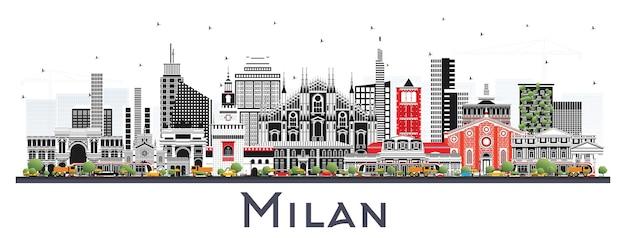 Orizzonte della città di milano italia con edifici di colore isolato su bianco. illustrazione di vettore. viaggi d'affari e concetto con architettura storica. paesaggio urbano di milano con punti di riferimento.