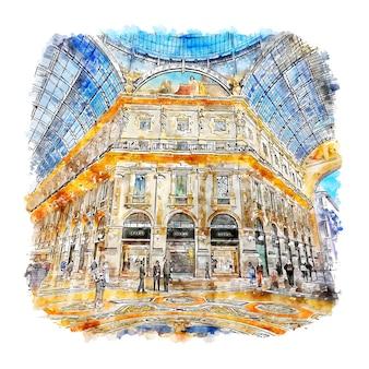 Illustrazione disegnata a mano di schizzo dell'acquerello di milano italia