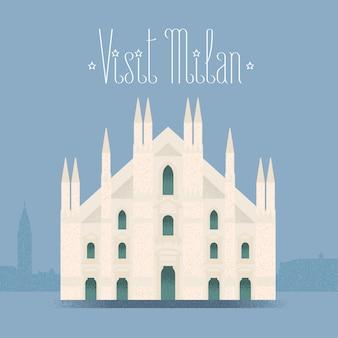 Milano, illustrazione della cattedrale di milano, elemento di design, sfondo. punto di riferimento italiano
