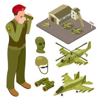 Base dell'aeronautica militare isometrica con elicottero, aereo da caccia, illustrazione dei soldati