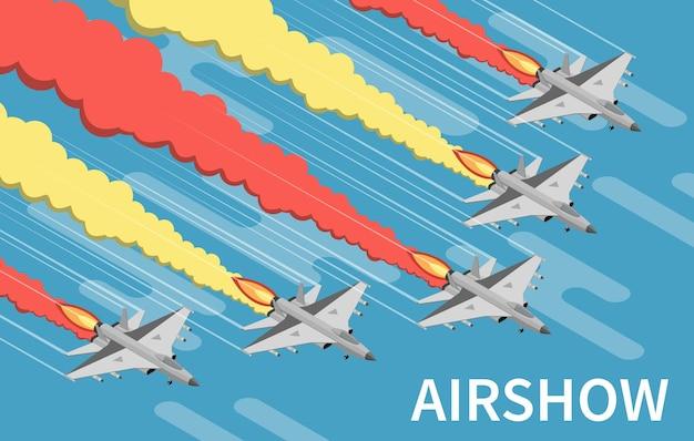 Aeromobili militari airshow pittura cielo con illustrazione isometrica tracce giallo rosso