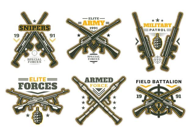 Icone araldiche militari e dell'esercito con pistole isolate e bersagli di armi