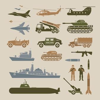 Insieme dell'illustrazione dell'oggetto dei veicoli dell'esercito militare, vista laterale