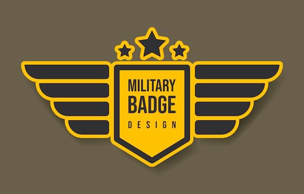 Design distintivo militare con ali e stelle. illustrazione vettoriale. esercito e design militare.