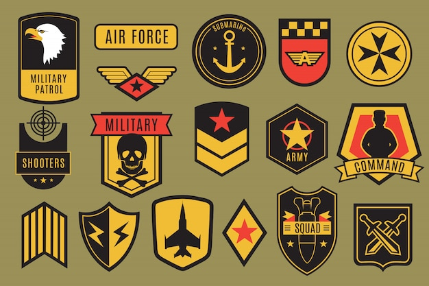 Distintivi militari. patch dell'esercito usa. chevrons soldato americano con ali e stelle. Vettore Premium