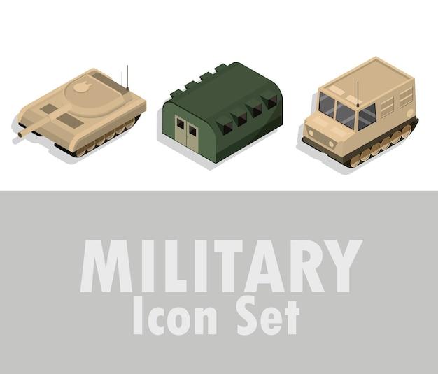 Icona militare impostata con diversi carri armati corazzati guerra illustrazione isometrica