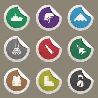 Set di icone militari per siti web e interfaccia utente