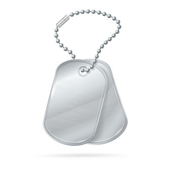 Medaglione dell'esercito d'argento con targhetta identificativa militare.