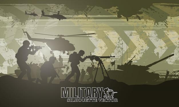 Illustrazione militare, sfondo dell'esercito, sagome di soldati, felice giorno dei veterani.