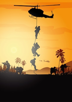 Illustrazione militare, sfondo dell'esercito, sagome di soldati.