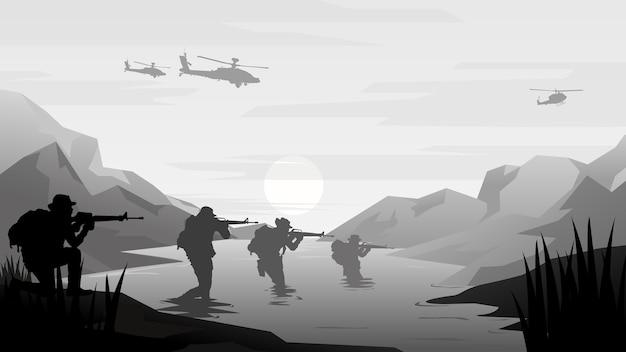 Illustrazione militare, sfondo dell'esercito.