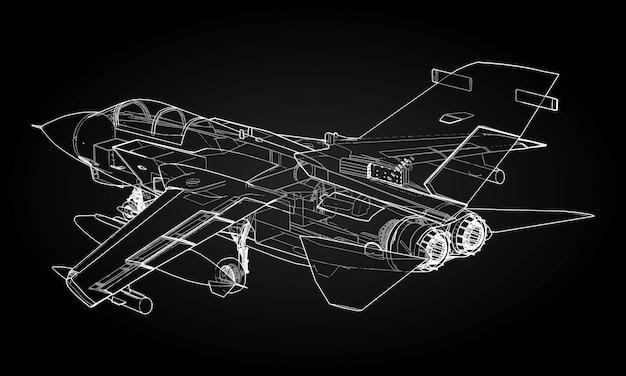 Sagome di caccia a reazione militare immagine di aerei in linee di disegno di contorno