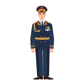 Militare delle forze armate russe che indossano l'uniforme completa. fante in parata isolato su superficie bianca