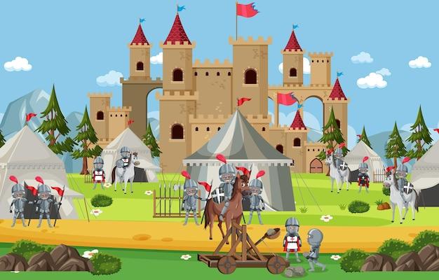 Accampamento militare medievale con tende e soldati
