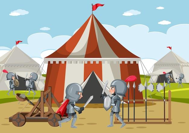 Accampamento militare medievale con tende e armi