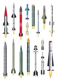 Missile militare rocket isolato su bianco. razzo intercontinentale balistico con bomba nucleare.